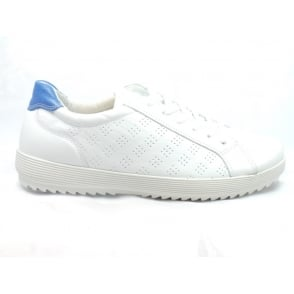 1071 Ferrara White Leather Lace-Up Trainer