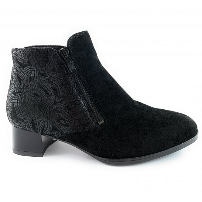 Ara 12-11837 Graz High Soft Black Suede Ankle Boot
