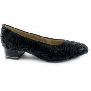 12-11838 Graz Highsoft Black Leather Court Shoe