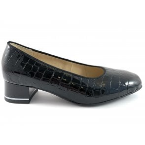 12-11838 Graz Highsoft Black Patent Croc Print Court Shoe