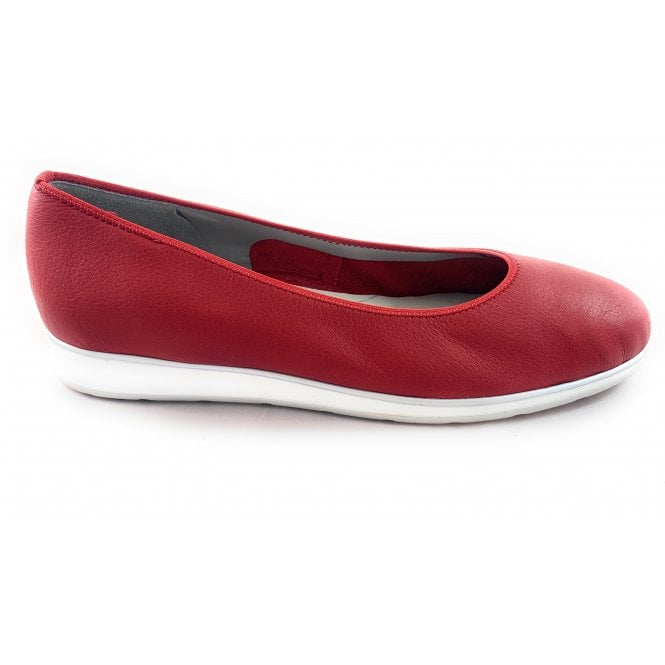 Ara 12-13392 Sardinia High Soft Red Leather Ballerina