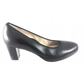 12-13436 Orly Black Nappa Leather Court Shoe