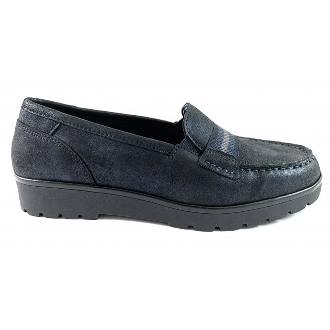 Ara 12-14801 Dallas Highsoft Navy Leather Casual Loafer