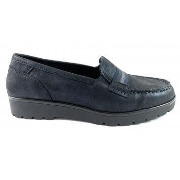 12-14801 Dallas Highsoft Navy Leather Casual Loafer