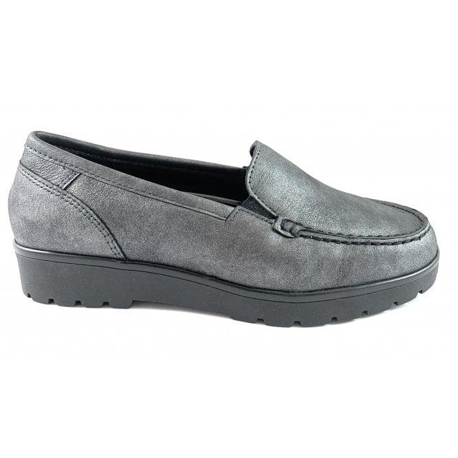 Ara 12-14803 Dallas Highsoft Grey Metallic Leather Loafer
