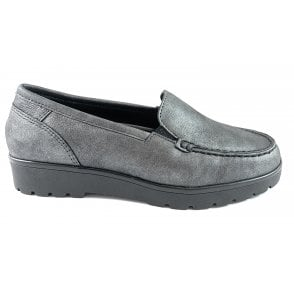 12-14803 Dallas Highsoft Grey Metallic Leather Loafer