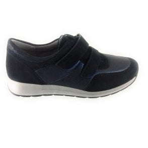 12-15016 Oslo Navy Leather and Suede Trainer