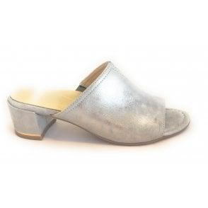 12-15905 Grado High Soft Silver Grey Metallic Leather Mule