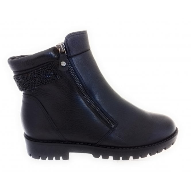 12-16228 Anchorage Black Leather Wide Fit Ankle Boot