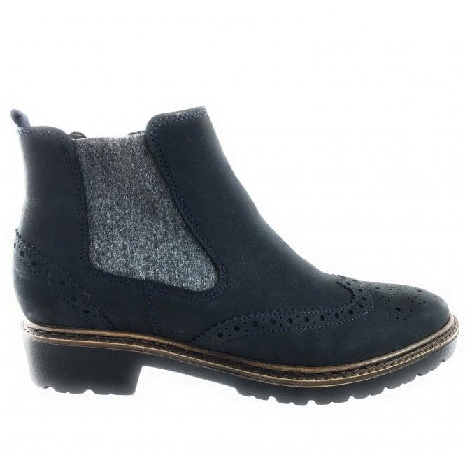 Ara 12-16504 Richmond Navy Blue Nubuck Ankle Boot