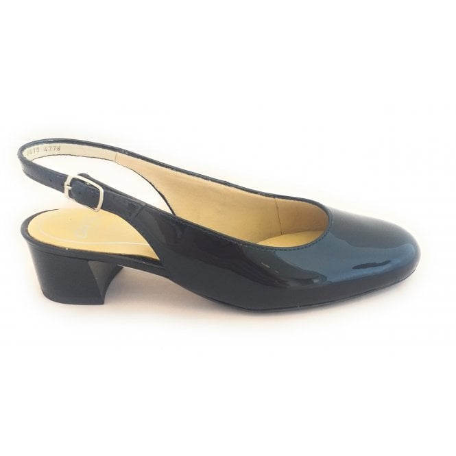 Ara 12-16619 Vicenza High Soft Navy Patent Sling-Back Court