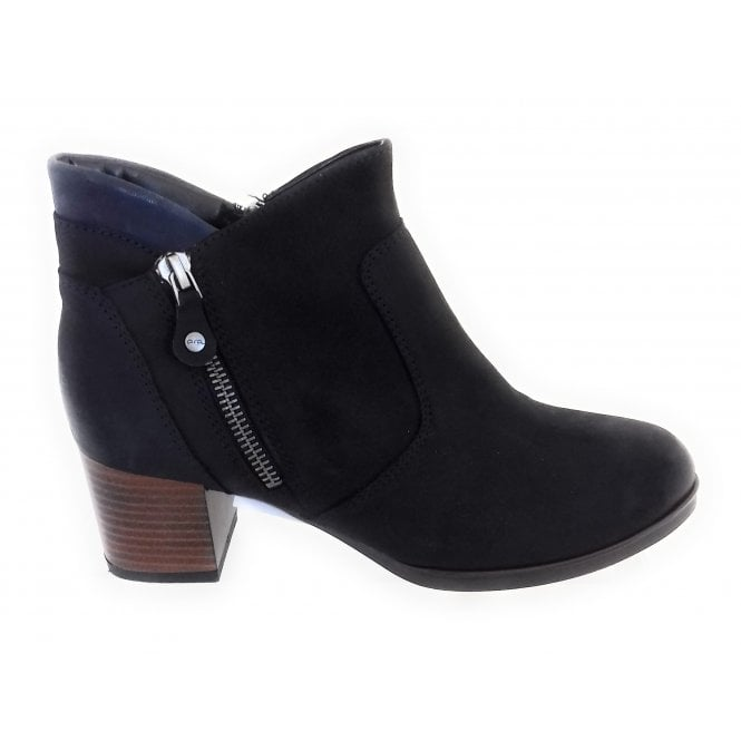Ara 12-16934 Florenz Navy Leather Ankle Boot