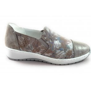 12-17632 Ossona Taupe Print Slip-On Casual Shoe