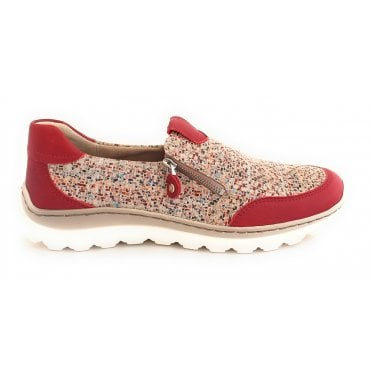 12-18502 Tampa Red Multi Leather Trainers