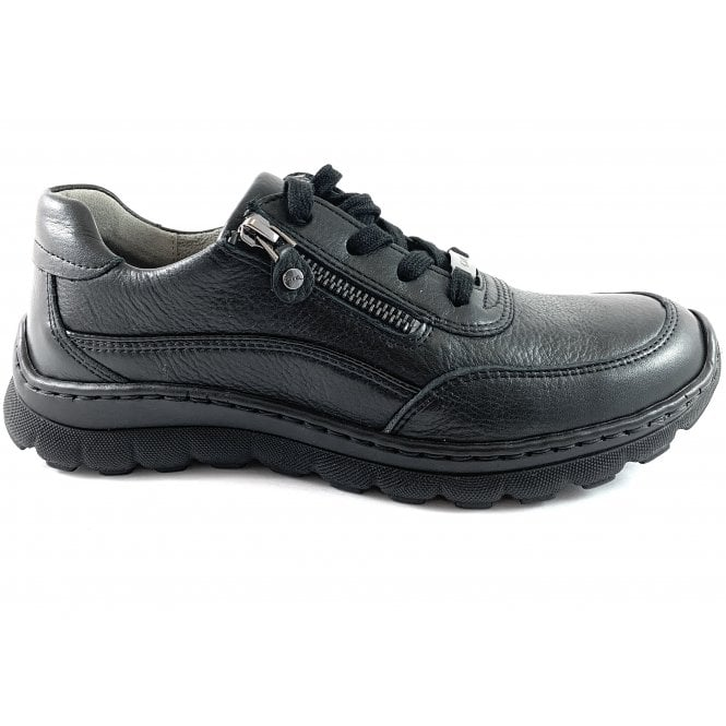 Ara 12-18522 Tampa Black Leather Lace-Up Casual Shoe
