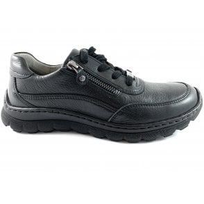 12-18522 Tampa Black Leather Lace-Up Casual Shoe