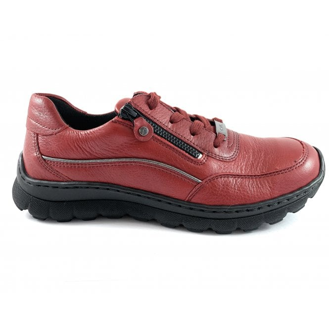 Ara 12-18522 Tampa Red Leather Lace-Up Casual Shoe