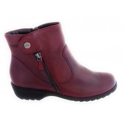 12-22753 Andros Red Leather Casual Ankle Boot