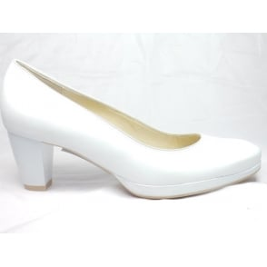 12-23402 Honeymoon Toulouse Off White Pearlised Leather Court Shoe