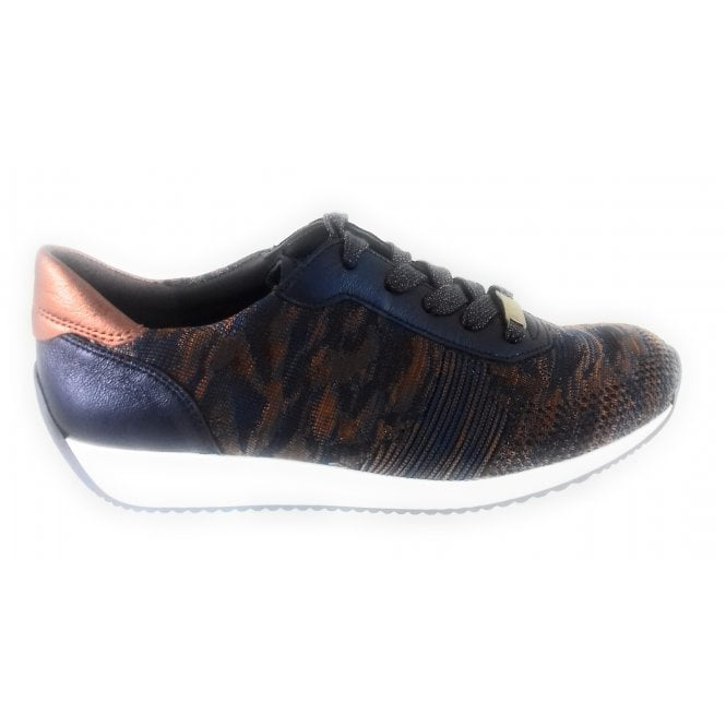 Ara 12-24027 Lissabon Fusion 4 Navy and Copper Trainer