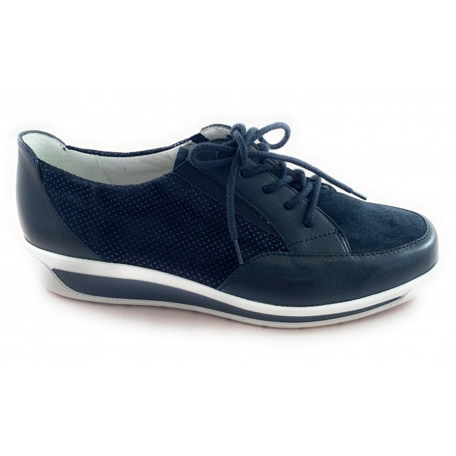 Ara 12-26322 Meran Navy Leather Casual Lace-Up Shoe