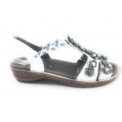 12-27202 Hawaii White Leather Open -Toe Casual Sandal