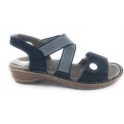 12-27204 Hawaii Navy Nubuck Open-Toe Sandal