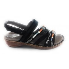 12-27206 Hawaii Black Nubuck Open-Toe Sandal