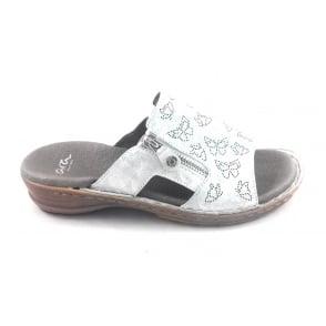 12-27208 Hawaii Silver Leather Mule Sandal