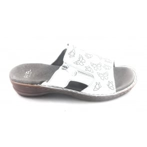 12-27208 Hawaii White Leather Mule Sandal