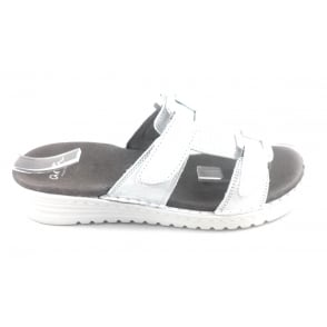 12-27266 Hawaii White Leather Mule Sandal