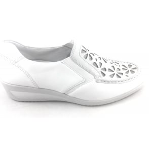 12-30661 Zurich White Leather Slip-on Casual Shoe