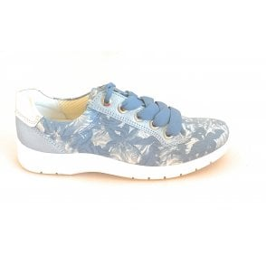 12-31009 Meran Blue and Silver Print Casual Shoe