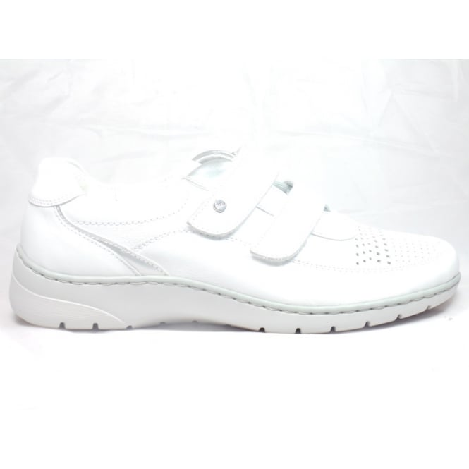 Ara 12-31034 Wide Fitting White and Silver Leather Casual Shoe with Velcro