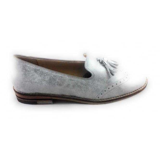 Ara 12-31252 Kent Silver Metallic Leather Loafer