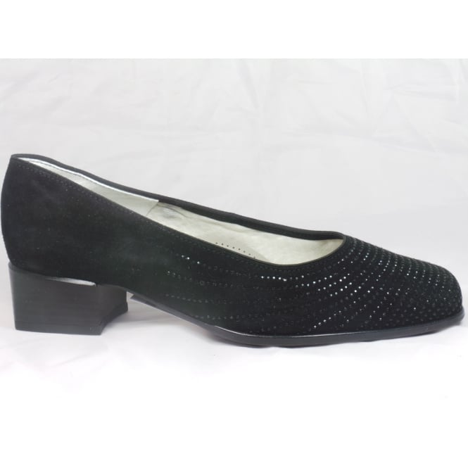 Ara 12-31812 Graz Black Suede Court Shoe