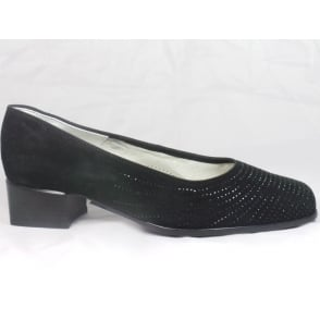 12-31812 Graz Black Suede Court Shoe