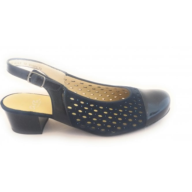 Ara 12-32084 Brugge Navy Suede and Patent Sling-Back Shoe