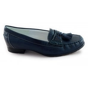 12-32218 New Jersey Navy Leather Moccasin