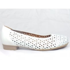12-33116 Perugia White and Silver Leather Ballerina Court Shoe