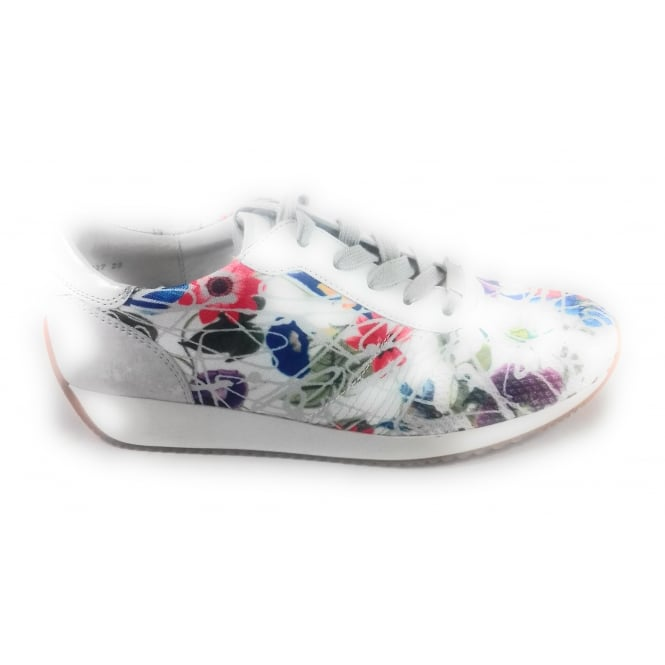Ara 12-34027 Lissabon Fusion4 White Multi Print Lace-Up Trainer