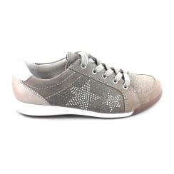 12-34403 Rom Beige and White Nubuck Lace-Up Casual Shoe