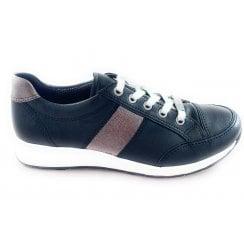 12-34553 Osaka Black Leather Lace-up Casual Shoe
