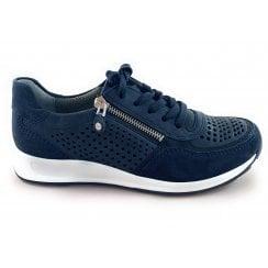 12-34556 Osaka Navy Blue Leather Lace-Up Trainer