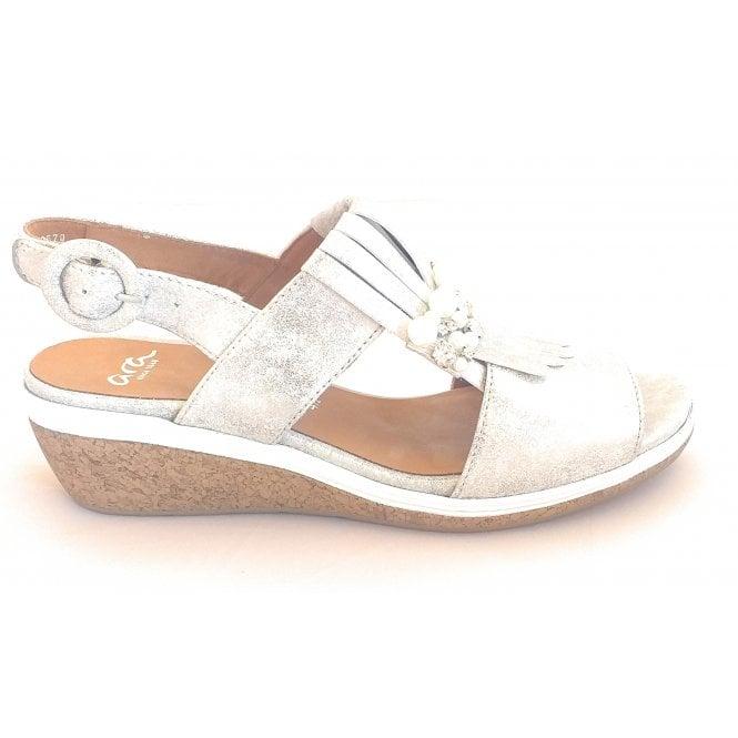 Ara 12-35321 Sirmione Silver Metallic Leather Wedge Sandal