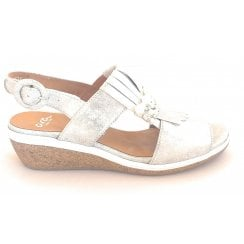 12-35321 Sirmione Silver Metallic Leather Wedge Sandal