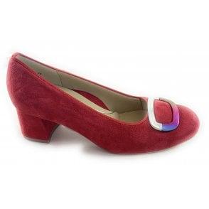 12-35534 Brighton Red Suede Court Shoe