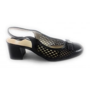 12-35572 Brighton Black Patent Sling-Back Court Shoe