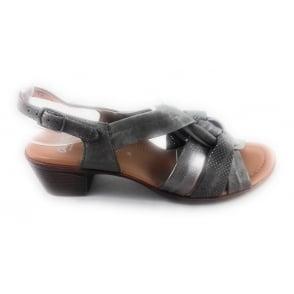 12-35741 Lugano Taupe Leather Open -Toe Sandal