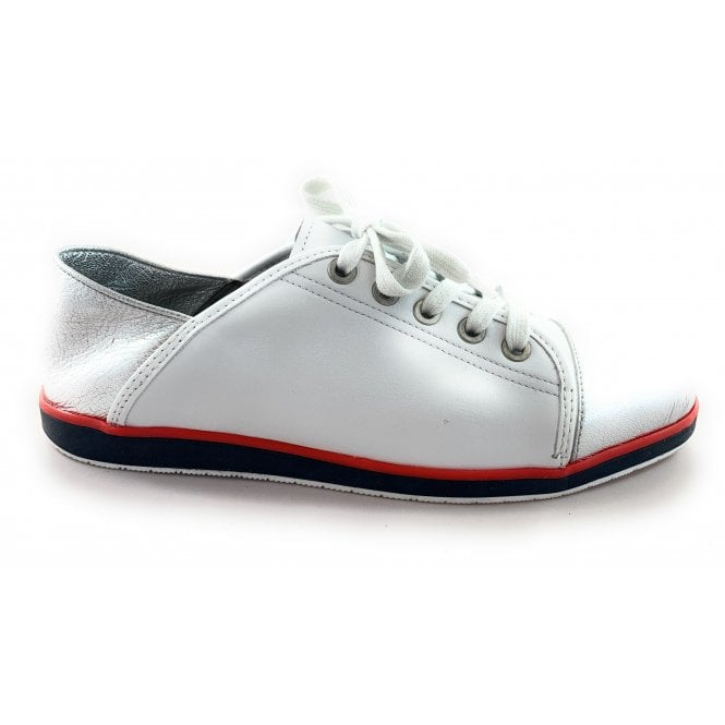 Ara 12-36209 Lancaster White and Silver Leather Lace-Up Casual Shoe